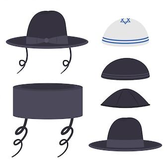 Żydowska tradycyjna kapelusze kreskówka ustawia odosobnionego na białym tle.