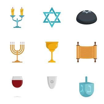 Żydowski zestaw ikon. płaski zestaw 9 żydowskich
