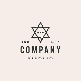 Żydzi rozmawiają czat hipster logo vintage