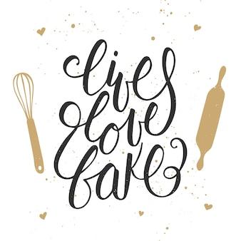 Żyj, kochaj, piecz z narzędziami kuchennymi