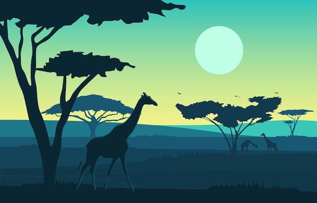 Żyrafa drzewo zwierząt sawanna krajobraz afryka wildlife ilustracja