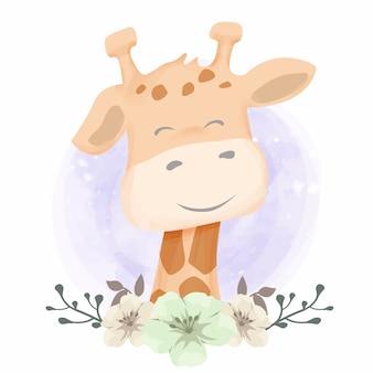 Żyrafa dziecka z pięknymi kwiatami