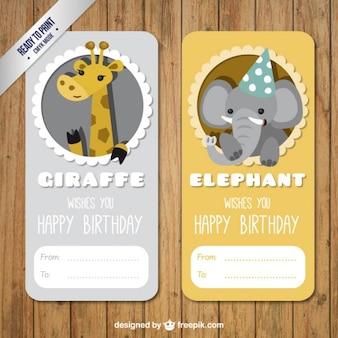 Żyrafa i słoń urodzin etykiecie na opakowaniu