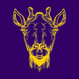 Żyrafa neonowa ilustracja kolor