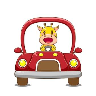 Żyrafa postać jazdy samochodem.
