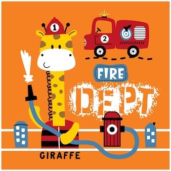 Żyrafa ratowanie pożaru zabawna kreskówka zwierzęca