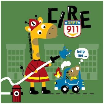 Żyrafa strażak zabawna kreskówka zwierzęca