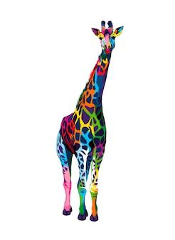 Żyrafa z wielobarwnych farb splash realistycznego rysunku w kolorze akwareli