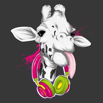 Żyrafa ze słuchawkami