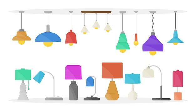 Żyrandol meblowy, lampa podłogowa i stołowa w płaskim stylu cartoon. żyrandole, iluminator, latarka odizolowywająca na białym tle. oświetlenie domu z ikonami lamp.