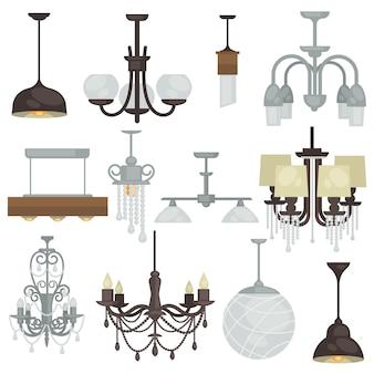 Żyrandol różnego typu. różna kolekcja lamp wiszących f
