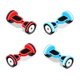 Żyroskop, czerwony i niebieski zestaw hoverboard z widokiem izometrycznym, dwukołowy skuter utrzymujący równowagę.