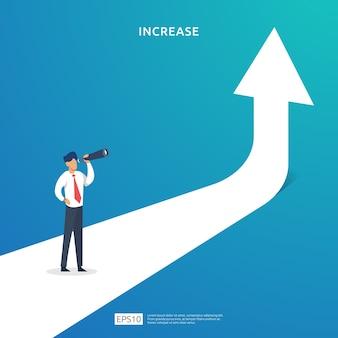 Zysk biznesowy rośnie lub stopa wynagrodzenia rośnie wraz ze wzrostem strzałki w górę i charakterem ludzi. marża z symbolem dolara. wyniki finansowe zwrotu z inwestycji koncepcja ilustracji roi