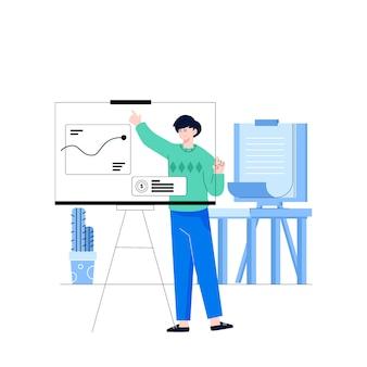 Zysk z prezentacji pracownika pracownika firmy w biurze
