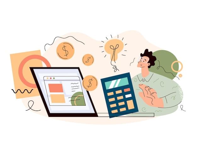 Zyski inwestycyjne roi dochód z obrotu giełdowego obliczanie koncepcji analizy planowania biznesowego