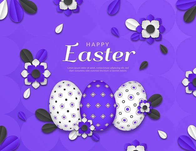 Żywa monochromatyczna wielkanocna ilustracja w stylu papieru z jajkami