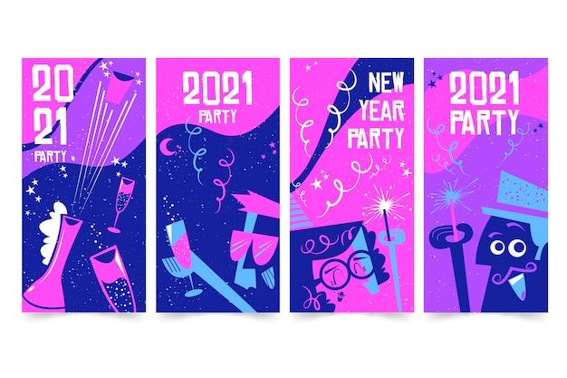Żywe fioletowe historie na instagramie z nowym rokiem 2021
