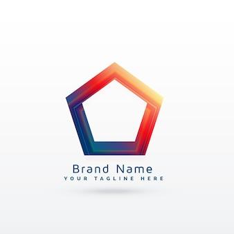 Żywe geometryczne pięciokątne logo koncepcja