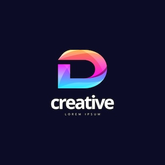 Żywe, modne kolorowe logo creative letter d.