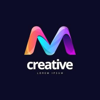Żywe, modne kolorowe logo creative letter m.