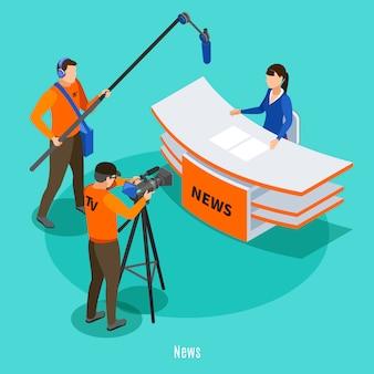 Żywe wiadomości w tv studiu isometric z mknącą załogą i spikerem przy pracującego miejsca wektoru ilustracją