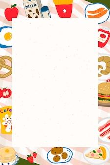 Żywność doodle rama na beżowym tle wektora