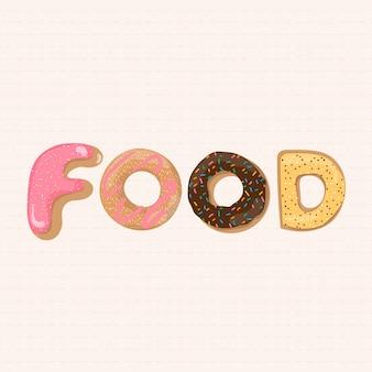 Żywność słowo typografia w stylu pączka