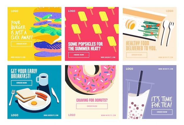 Żywność spożywcza media społecznościowe po kolekcji instagram
