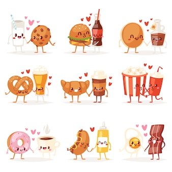 Żywności kawaii postać z kreskówki wyrażenie fastfood hamburger kochający pączek emotikon ilustracja walentynki zestaw emocji burger całuje kawę emoji w miłości na białym tle