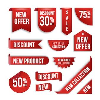 Żywo-czerwona realistyczna kolekcja etykiet sprzedażowych