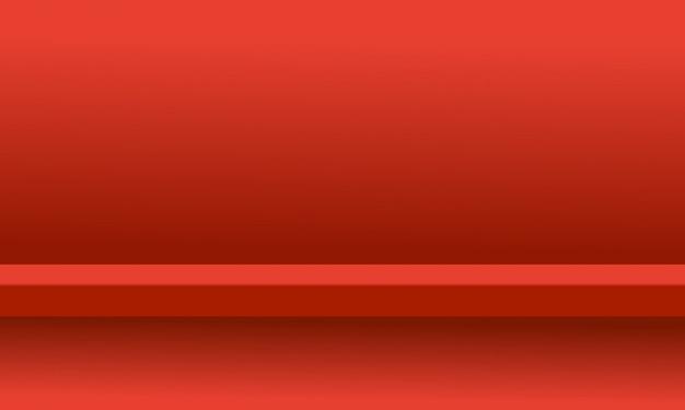 Żywy czerwony kolor tła studio półka pokój z wyświetlaczem produktu
