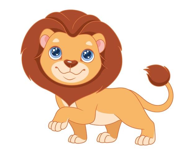 Żywy lew. ilustracja kreskówka wektor