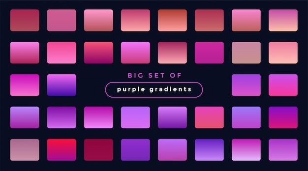 Żywy zestaw gradientów purpurowe i różowe