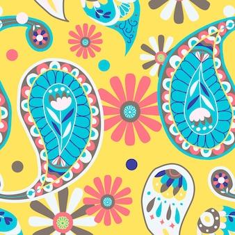 Żywy żółty indyjski wektor wzór paisley bezszwowe tło