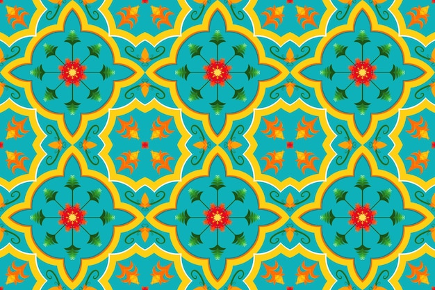 Żywy żółty niebieski marokański etniczne geometryczne płytki kwiatowe sztuki orientalne bezszwowe tradycyjny wzór. projekt tła, dywan, tło tapety, odzież, opakowanie, batik, tkanina. wektor.