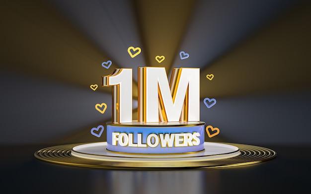 1 milion obserwujących świętuje dziękuję banerowi w mediach społecznościowych ze złotym tłem w centrum uwagi 3d