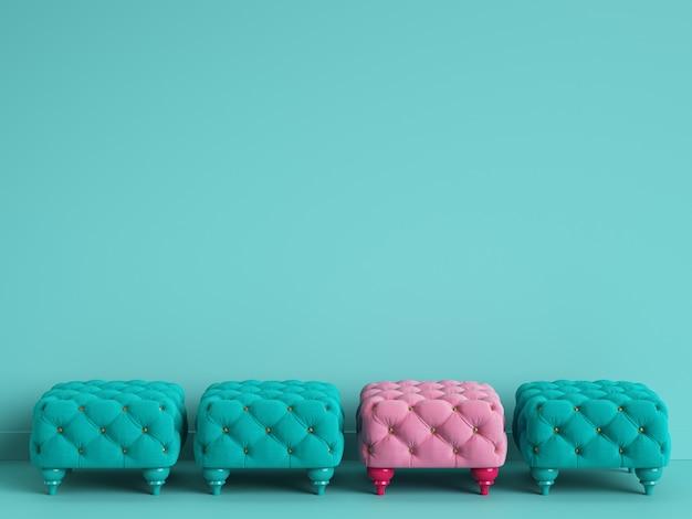 1 różowa pufa wśród niebieskich z miejscem na kopię. renderowania 3d