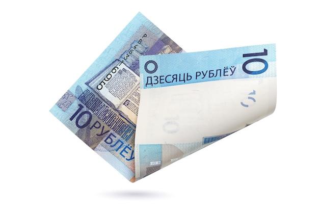 10 białoruskich rubli na białym tle. waluta papierowa republika białorusi.