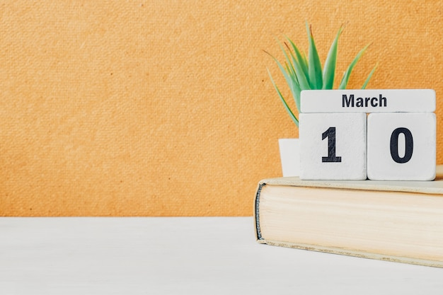 10 dziesiątego dnia marca w kalendarzu z książką i rośliną