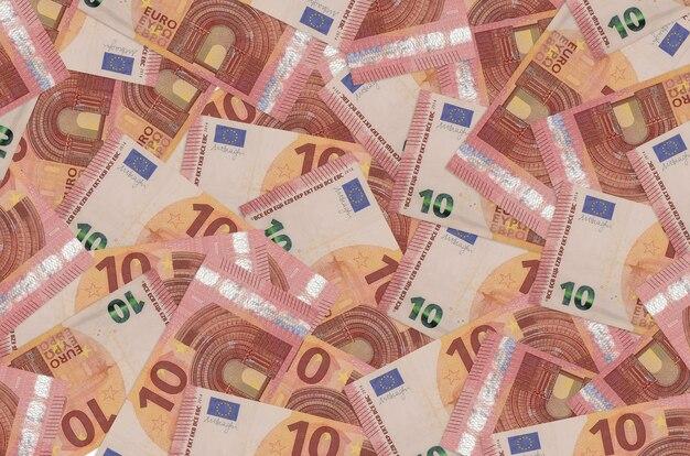 10 euro leży na stosie. koncepcyjne tło bogate życie. dużo pieniędzy