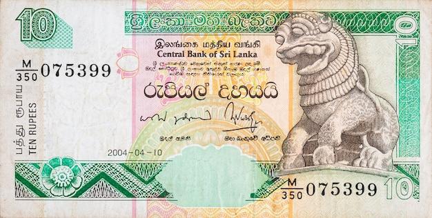 10 fragmentów banknotu w kolorze rupii lankijskiej