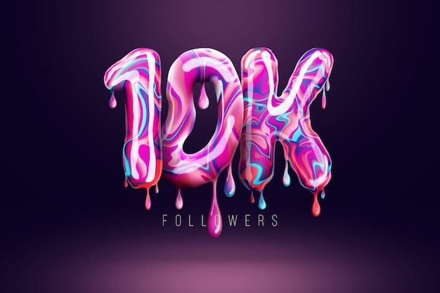 10 tys. zwolenników podpisuje się w postaci pysznych cukierków, topiących się słodyczy. dziękuję 10,000 obserwujących kreatywne tło. nowoczesny design, abstrakcyjny szablon, plakat, ulotka. ilustracja 3d, renderowanie 3d.