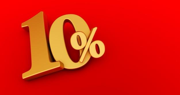10% zniżki. złoto dziesięć procent. dziesięć procent złota na czerwonym tle. renderowania 3d.