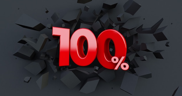 100 procent sprzedaży. pomysł na czarny piątek. do 100%. złamana czarna ściana ze 100% pośrodku
