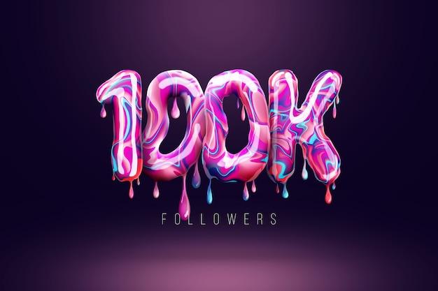 100 tys. obserwujących podpisuje się w postaci pysznych cukierków, topiących się słodyczy. dziękuję 100 000 obserwujących kreatywne tło. nowoczesny design, abstrakcyjny szablon, plakat, ulotka. ilustracja 3d, renderowanie 3d