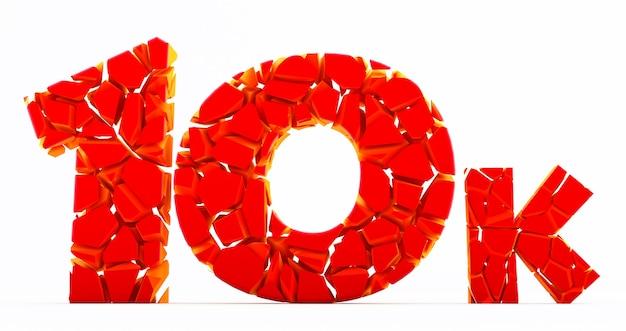 10k lub 10000 dziękuję czerwone słowo 3d. użytkownik sieciowy dziękujemy za świętowanie subskrybentów lub obserwujących, polubienia. numer brocken