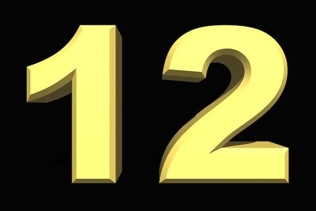 12 dwanaście cyfr 3d niebieski na ciemnym tle