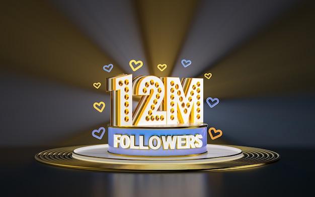 12 milionów obserwujących świętuje dziękuję banerowi w mediach społecznościowych ze złotym tłem w centrum uwagi 3d