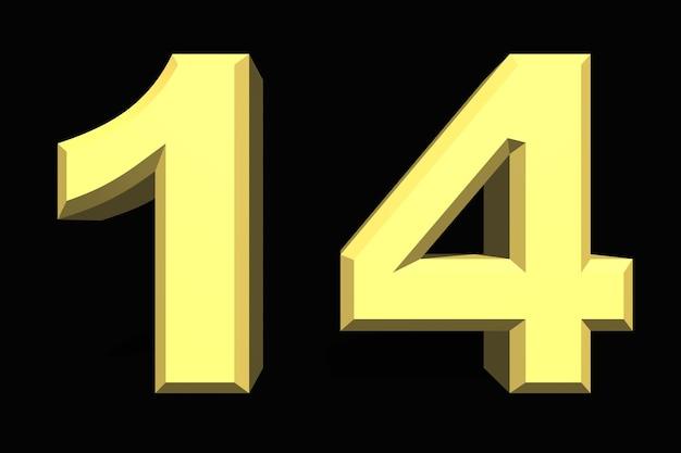 14 czternaście cyfr 3d niebieski na ciemnym tle