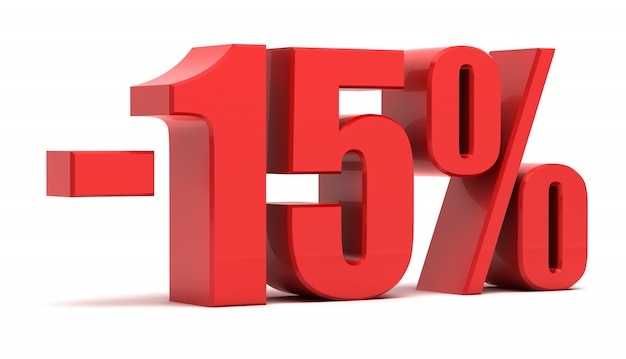 15 procent rabatu 3d tekst